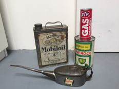 Oil cans and oil jug