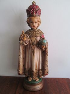 Large statue - infant Jesus of Prague CHURCH statue 64 cm - France - ca. 1900