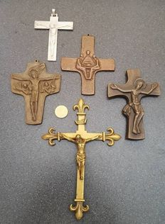 Collection of 5 bronze crosses 19th and 20th century