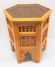 Hand made hexagonal wooden side table with glass plate, second half 20th century,