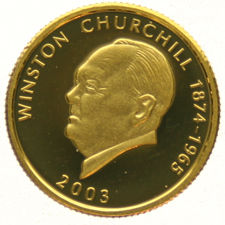 "Samoa – 10 Dollars 2003  "" Winston Churchill ""  – gold"