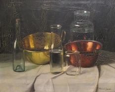 Romek Arpad (  1883 - 1960) - Still life with glass bottles and 2 red and yellow copper scales