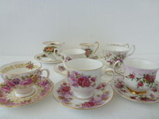 8 Pieces miscellaneous English cups & saucers: Elizabethan, Royal Albert, Royal Standard, Priory Dale, Oueen Anne, Paragon
