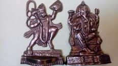Hinduism - lot of 2 representative figures in golden metal