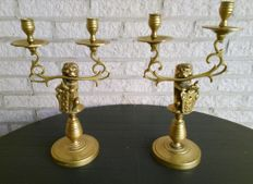 Two Amsterdam candle holders for two candles- Netherlands -ca. 1910