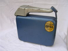 Original metal Allboy Jerry can for Opel - 1960s/1970s - 30x30x7 cm - blue with grey hammer lacquer