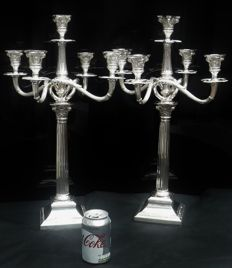 Pair Silver Candelabra, Theodor Julius Guenther, Robert Freund c.1910