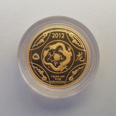 Australia - 10 Dollars 2012 'Year of the Dragon' - 1/10 oz gold