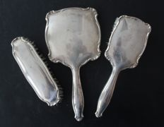 Hand mirror / brush set, silver, overall lot ca 450gr, circa 1950