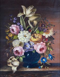 Unknown (20th century) - Still life of a vase of flowers