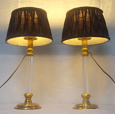 Pair of two Bedworth traditional styled candle stick designed lamp base, with a contemporary twist, France, second half 20th century