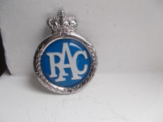 vintage RAC car badge 1960s type 3 badge chrome plated with perspex convex centre with original fixings