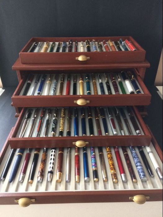 Gorgeous Collection of 68 Different Fountain Pens With Silver and Gold Plated Iridium Nibs in a Three-Drawered Luxury Case (Collection limited to 4900 copies)