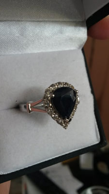 Authentic 3.32cts Madagascan Velvet Blue Sapphire with Brazilian White Topaz dress ring. Fabulous style.