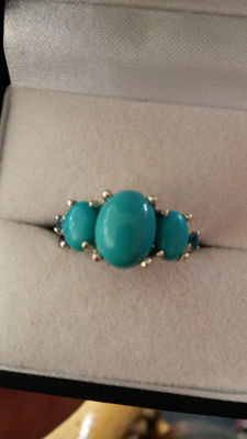 Genuine 2.45cts rarest Duck Egg Blue Sleeping Beauty Turquoise (USA) with Brazilian Neon Apatite dress ring.