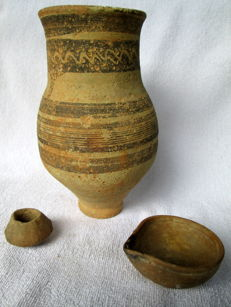 Three pieces earthenware: Urn (vase), jug and jar - resp. 190 mm high; 70 and 40 mm diam.