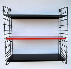 Vintage bookshelf/wall rack in Rietveld/Mondrian colours, designed by A. Dekker for Tomado - ca. 1960, the Netherlands