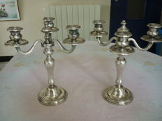 Pair of silver plated metal 3-branch candelabras