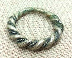 Early medieval silver ring of the Viking, 18 mm. 6.49g