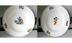 Vintage Walt Disney children's plates - with warm up function - Donald Duck and Mickey Mouse