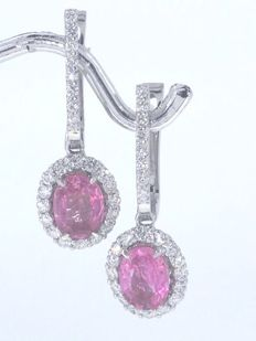 Earrings with pink coloured sapphires 2.00cts and 48 brilliant cut diamonds total 0.60 ct. - length of the earrings: 3cm