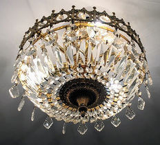 Ceiling lamp in bronze and crystal, mid 20th century