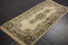Beautiful antique handwoven Persian oriental carpet, Kirman Lawer, 75 x 155cm, made in Iran