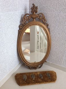 Gold plated Empire style mirror with matching coat rack, France, second half 20th century