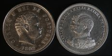 Portugal - 2 coins of 200 Reis face value - D. Carlos I - 1892 and 1898 - Lison - FDC and UNC