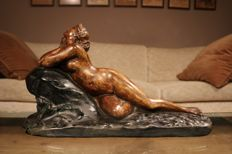 Classic sculpture of a reclining nude - 1950s - Belgium