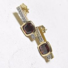 "14k earrings with garnet and diamonds, 1.50 cts ""No Reserve Price""."