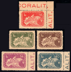 Stamps, Occupied Territories, 1945, CO.RA.LIT. Cyclist on geographical map of Italy, complete set of 5 stamps.