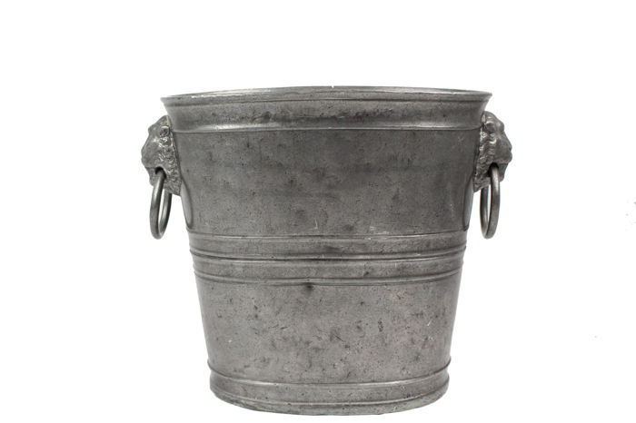 Tin Blockzinn champagne cooler with ram's heads - Germany - 1820