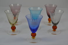 Attributed to Nason&Moretti - Set of 6 coloured goblets in Murano crystal