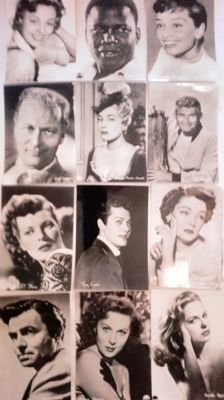 Lot of 75 actor and actress postcards . Cloutier, Curtis , Bogart , Hayworth