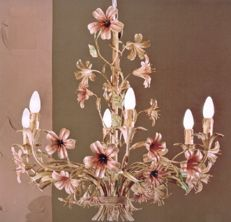 Florentine style, hand made and entirely hand decorated wrought iron chandelier - new