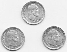 The Netherlands – 5 cents 1869, 1876 and 1879, Willem III – silver