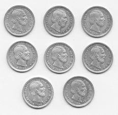 Netherlands – 5 cents 1850/1879 Willem III (8 different coins) – silver