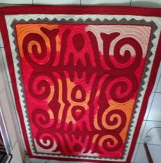Vintage hand made cheerful mid century rug