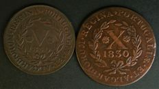 Portugal - 2 coins from the reign of D. Maria II - V and X Reis - 1830 - NO RESERVE PRICE - London - EXCELLENT CONDITION