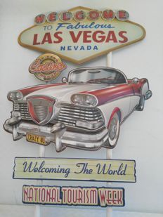 Collectible sign, Las Vegas, measures 51x78 cm