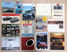 Collection of 14 automobile brochures: among others Mercedes, BMW, Cadillac, Jeep, Desoto, Bugatti