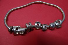 925 silver bracelet AMORA, with various charms – 22 cm