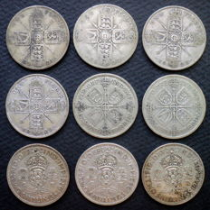 United Kingdom - Florins (Two Shillings) 1921/1944 George V and VI (9 pieces) - silver
