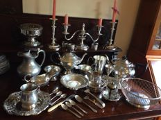 Large collection silver plated tableware antique and later