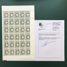 Belgium 1960 - Europe stamp OBP 1151 in wrongly cut sheet with 2 plate numbers with photo certificate
