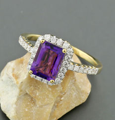 Striking amethyst brilliant ring in 750 rose gold partially rhodinated -- no reserve price --