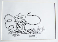 "Batem - Original Drawing in India Ink for a greeting card - ""La Marsupilamie"""
