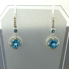 Earrings Diamonds with topas - length 29 mm