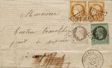 France 1871 - Serrated Cérès, 10 centimes, bistre, Yvert No. 36 and Empire with laurel, 1 and 4 centimes on letter, franking from September 71